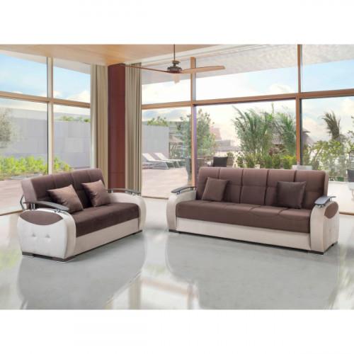 ספת 3+2 מושבים נפתחת למיטה עם ארגז מצעים GAMMA חום