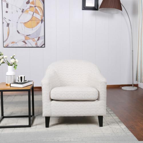 כורסא מעוצבת מרופדת בד עם רגלי עץ מלא דגם איביזה