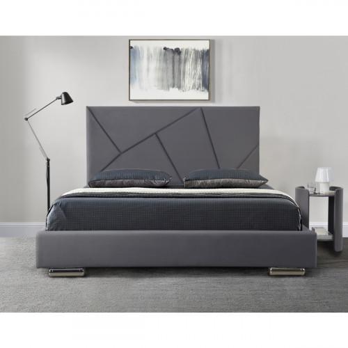 מיטה זוגית מעוצבת 140x190 בריפוד בד קטיפתי דגם קייטי 140