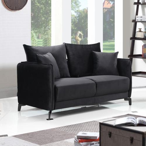ספה דו מושבית בעיצוב מודרני מרופדת בד רחיץ דגם קיטו שחור