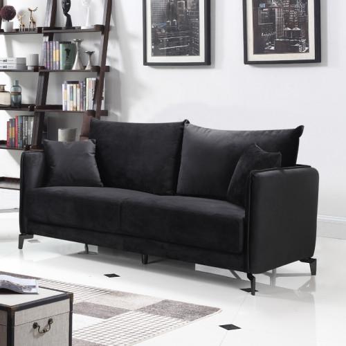 ספה תלת מושבית בעיצוב מודרני מרופדת בד קטיפתי דגם קיטו שחור