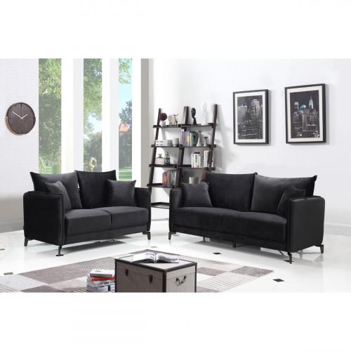 מערכת ישיבה 3+2 בעיצוב מודרני מרופדת בד קטיפתי דגם קיטו שחור
