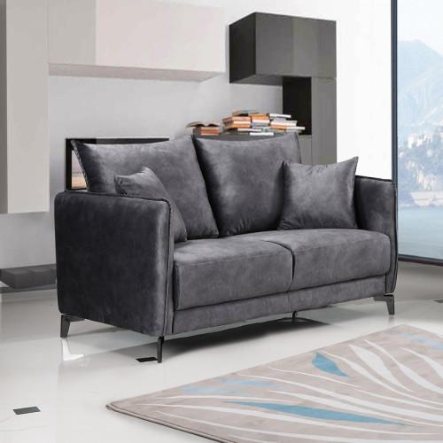 ספה תלת מושבית בעיצוב מודרני מרופדת בד קטיפתי דגם קיטו אפור