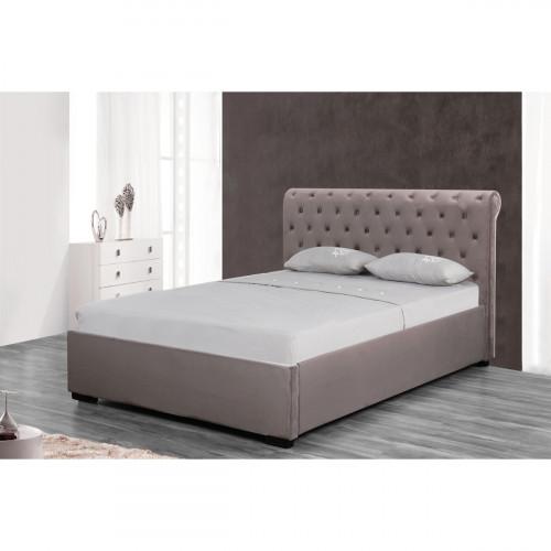 מיטה זוגית מעוצבת בריפוד בד קטיפתי עם ארגז מצעים מעץ 140/190 דגם נטלי קרם