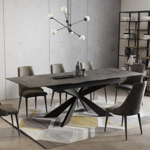 שולחן אוכל קרמיקה מפואר באורך 1.8 מ' נפתח ל- 2.4 מ' עם רגל מתכת דגם פלמה