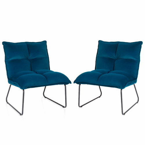 זוג כורסאות המתנה מעוצבת עם רגלי מתכת דגם פולו ירוק - כחול