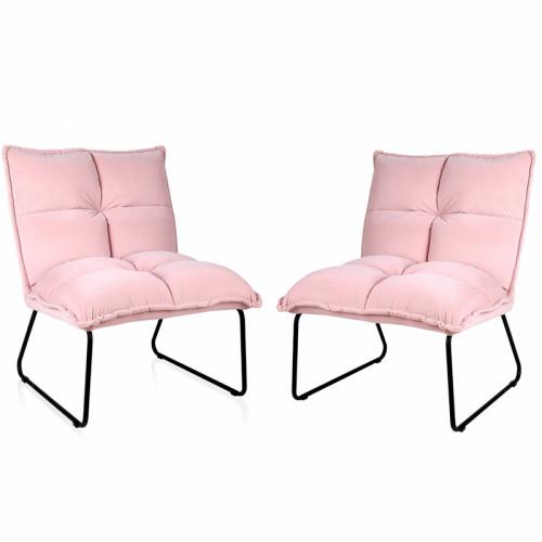 זוג כורסאות המתנה מעוצבת עם רגלי מתכת דגם פולו ורוד