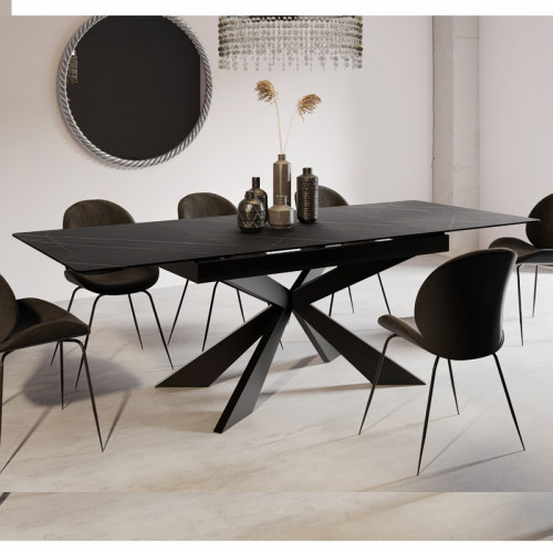 שולחן אוכל קרמיקה מפואר באורך  1.8 מ' נפתח ל- 2.4 מ' עם רגל מתכת (ללא כסאות) דגם רונדה