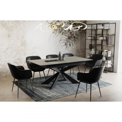 שולחן אוכל קרמיקה מפואר באורך 1.6 מ' נפתח ל- 2.1 מ' עם רגלי מתכת דגם סביליה