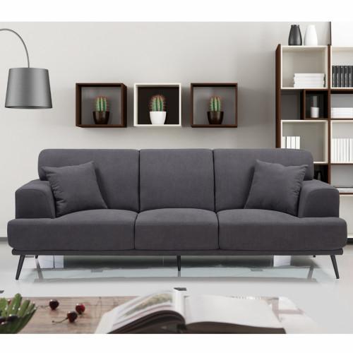 ספה תלת מושבית מעוצבת עם ריפוד דוחה נוזלים דגם סטנלי אפור