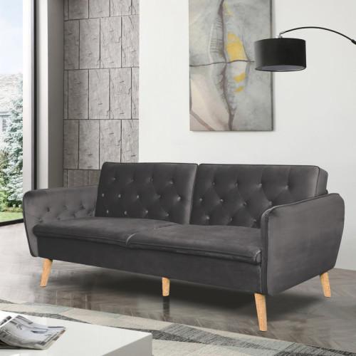 ספה תלת מושבית נפתחת למיטה רחבה מרופדת בד קטיפה דגם תמר אפור