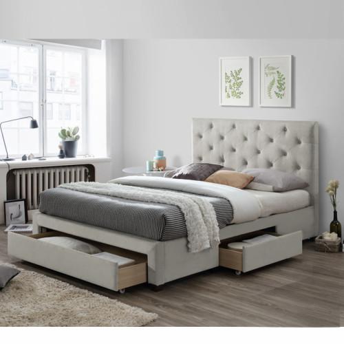 מיטה זוגית מרופדת 140x190 עם 3 מגירות אחסון דגם טופז קפוצינו