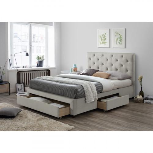 מיטה רחבה לנוער מרופדת 120x190 עם מגירות אחסון דגם טופז 120 קפוצינו