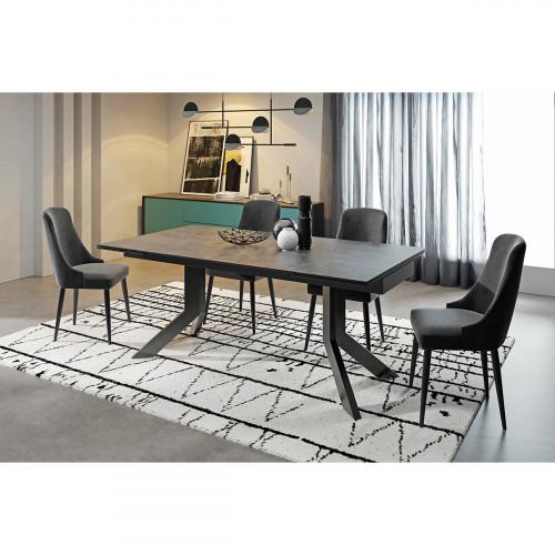 שולחן אוכל קרמיקה מפואר באורך 1.6 מ' נפתח ל- 2.4 מ' עם רגלי מתכת  דגם ויגו