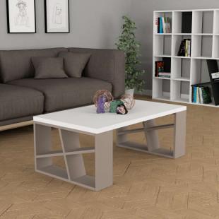 שולחן סלון Honey Coffee Table  מוקה/לבן מסדרת Decoline