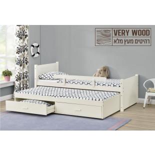מיטת ילדים נפתחת מעץ מלא עם מיטת חבר נשלפת + זוג מזרני ספוג איכותיים דגם נוי