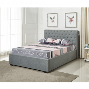 מיטה זוגית מעוצבת ומרופדת בבד אפור עם ארגז מצעים מעץ המתאימה למזרון 140/190 דגם קים