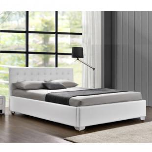 מיטה זוגית מעוצבת בריפוד דמוי עור עם ארגז מצעים מעץ המתאימה למזרון 140/190 דגם לורי