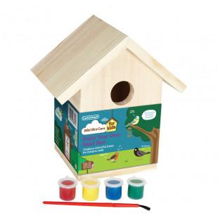 תיבת קינון מעץ לציפורי שיר ובר קטנות – ערכה לילד