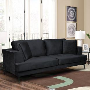 ספה תלת מושבית מרופדת בד קטיפתי דגם אלפא