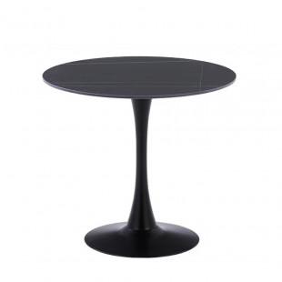 שולחן אוכל עגול עם פלטת אבן ייחודית ורגל ברזל דגם שפילד שחור