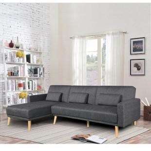 מערכת ישיבה פינתית מבד נפתחת למיטה זוגית דגם נופר אפור נוטה לשחור (צד פינה שמאול)